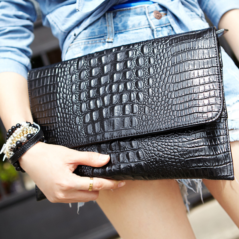 100% Genuine Leather Bag crocodile women handbags shoulder bag women messenger bags Day clutch handbag 2015 new black fashion