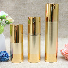 15ml 30ml 50ml Gold Wire-drawing Airless Bottle High Quality UV Coating Refillable Lotion Push Bottles Packing 10pcs/lot