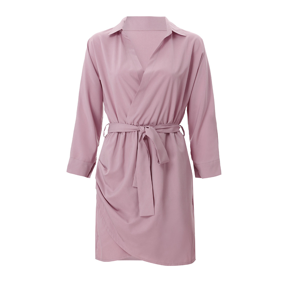HTB1G66zayHrK1Rjy0Flq6AsaFXaA Shirt Fashion Summer Dress Women Autumn Dress Long Sleeve Turn-Down Collar T Shirt Dress 4 Colour Casual Mini Office Dress