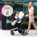 Hot mom baby stroller foofoo stroller High landscape can changed into sleeping basket leather