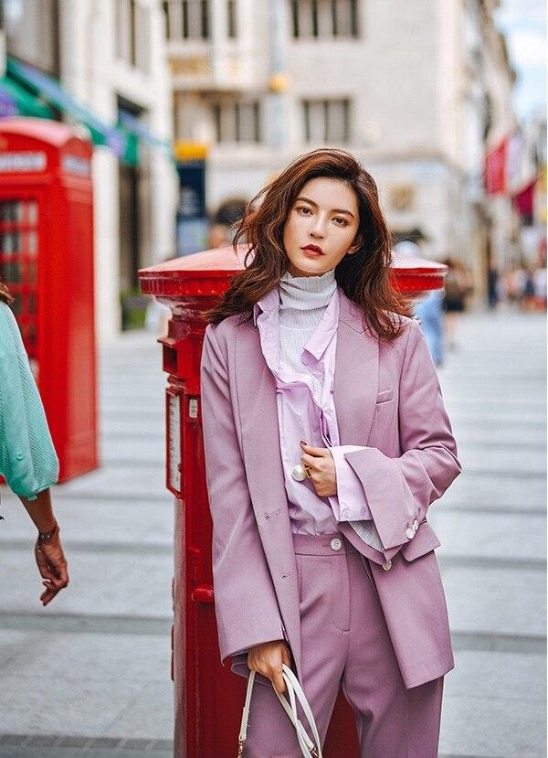 Costume 2019 Haute Et Blazer Hiver Mode Instyle Couture Gloria Originale Grâce pourpre Élégant Conception Violet Office Automne De Lady rr4wR