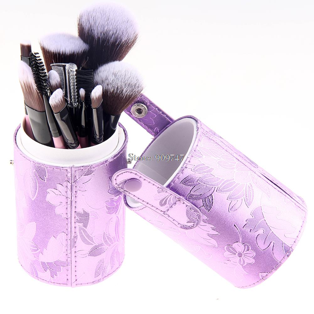 New Arrival 12 pcs Makeup Brushes Cosmetic Foundation Eyeshadow brushes Set With purple PU Storage bucket Tube cylinder