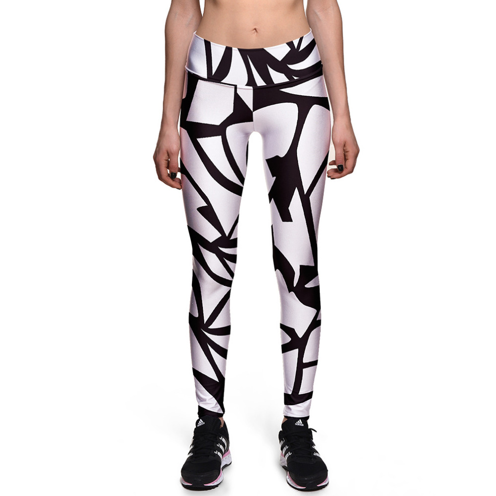 Womens Black Lines Print High Waist Bodycon Workout Fitness Leggings Trousers For Woman Fashion White Skinny Active Pants 4XL