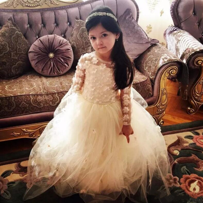 3D Appliqued Long Sleeves Flower Girls Dresses Jewel Neck Floor Length Little Girl Pageant Dress Ball Gown Custom dimming led ceiling lights post modern style for living room study room decorative lampshade ceiling lamp lamparas de techo