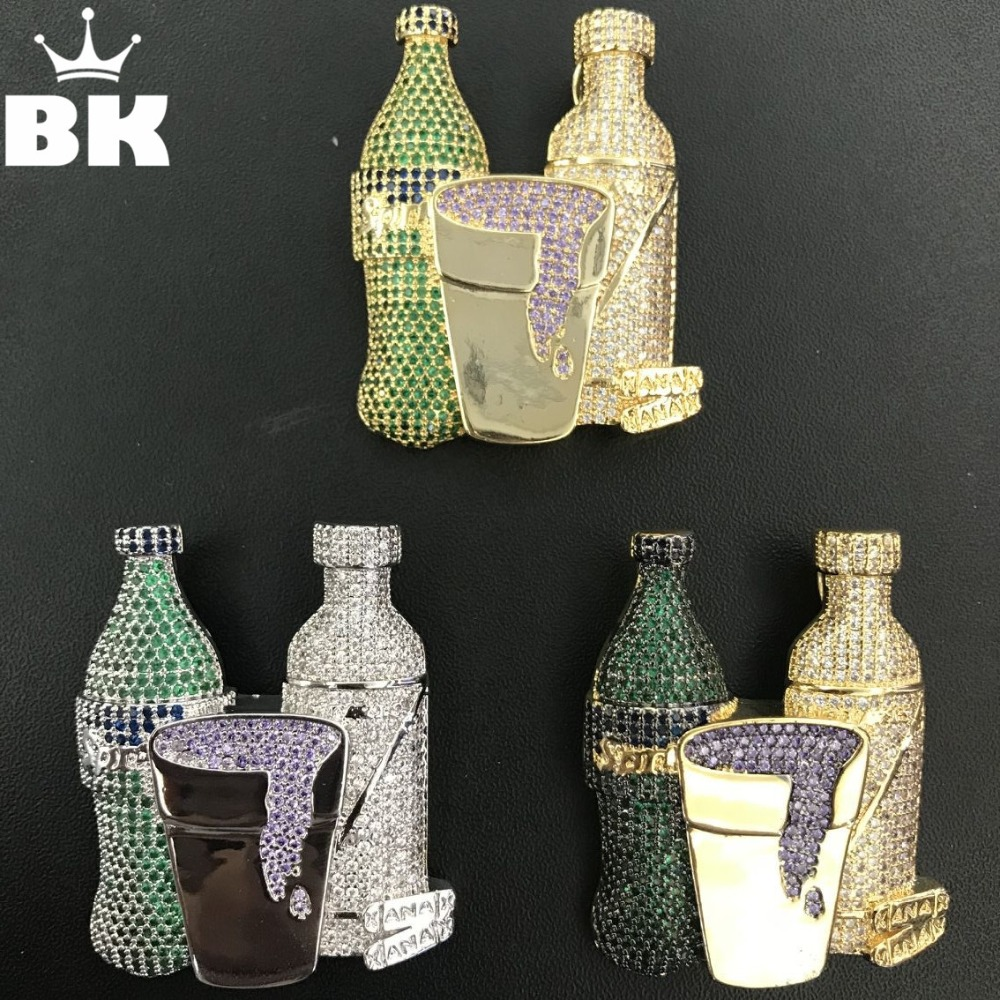 THE BLING KING Colorful CZ Sprite Cup Pendant Micro Paved Cubic Zirconia Two Drank Bottles Big Pendant Necklace двухколесные самокаты micro sprite se