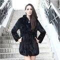 2016 New Fashion Women Genuine Mink Fur Coat With Hood Natural Mink Fur Jacket Winter Real Fur Garment Plus Size S-6XL