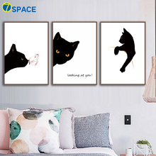 Cat Butterfly Posters And Prints Wall Art Canvas Painting Nordic Poster Black White Animals Pictures For Living Room Decor