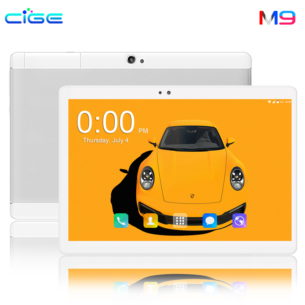 CIGE M9 10.1 Inch Tablet PC Octa Core 6GB RAM 64GB ROM Tablets Bluetooth WiFi Android 8.0 Multi Touch 1280*800 IPS Phablet 10