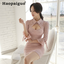 2019 Summer Hollow Out Lace Dress Women Turn-down Collar Flare Sleeve Mini Dress Club Wear for Ladies Casual Office Dress Women plus size white ol office work dress women turn down collar long sleeve mini dress club wear for ladies casual bodycon dresses