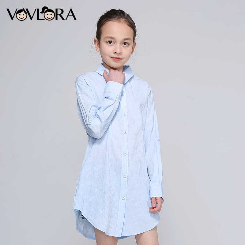 Girls Blouse Dress Long Sleeve Spring Print Letter Kids Blouses Cotton Button Clothes Casual 2018 Size 9 10 11 12 13 14 Years plus size slit sleeve butterfly print blouse