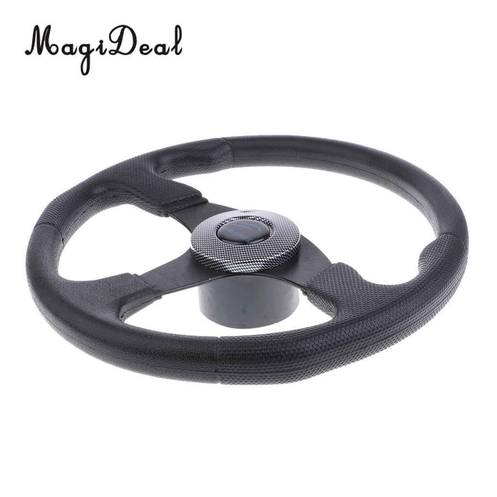 MagiDeal 13.4' Aluminum 3 Spoke Boat Marine Steering Wheel Shaft 3/4'' PU Foam Black for Water Sports Rowing Canoe Boats Yacht heavy duty 60v 600a marine dual battery selector switch for boat rv semi motor yacht boats red abd black page 3