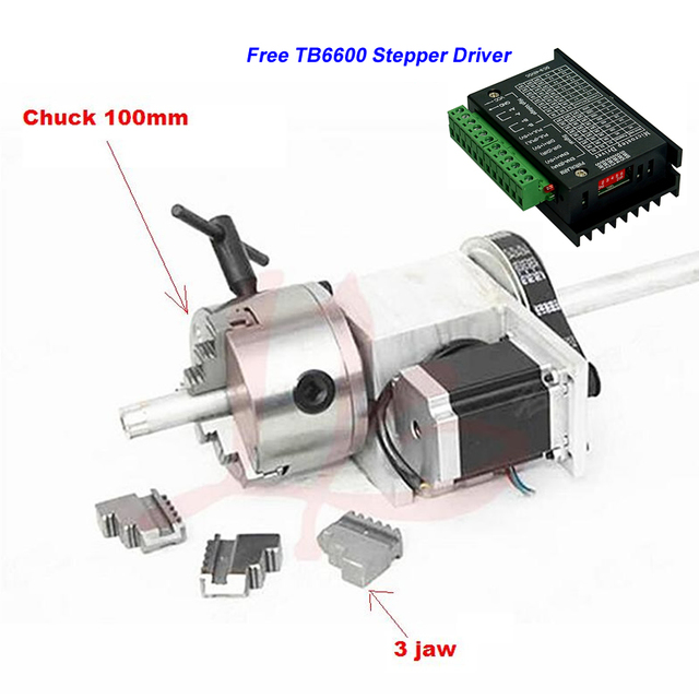 Center Height 65MM 3 Jaw Chuck Hollow Shaft 100mm CNC 4th Axis Rotary Axis + TB6600 57 Stepper Motor Driver for CNC Machine
