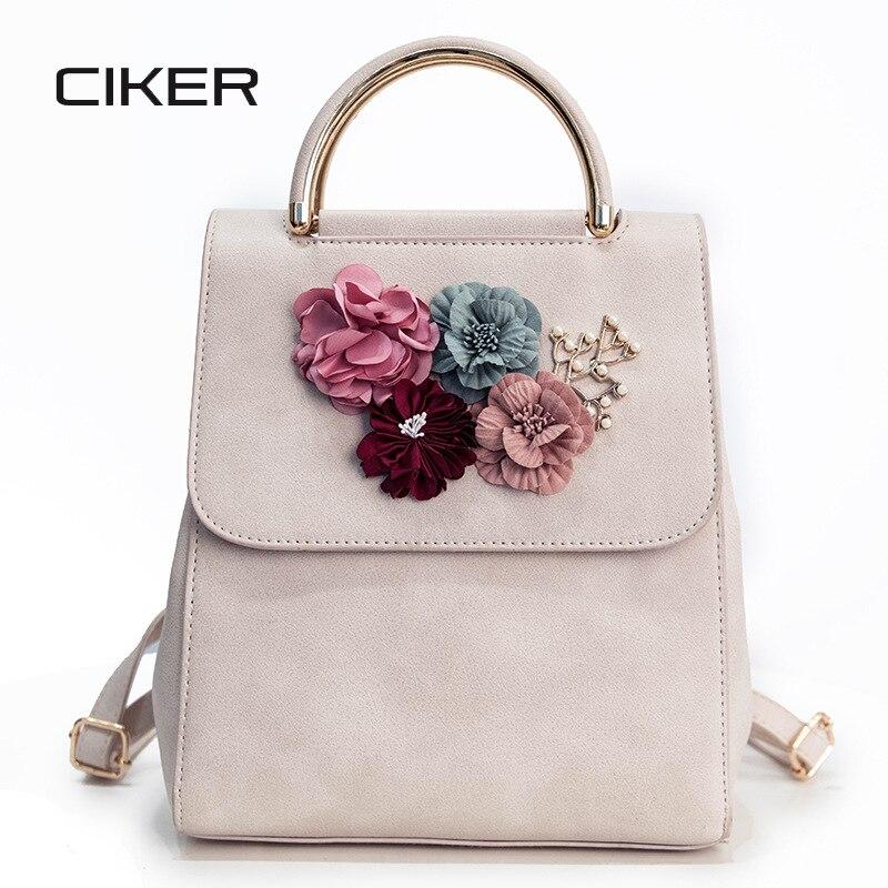 CIKER Women Leather Backpack Sweet Beading Flowers Teenage Girls School Backpack Female Small Travel Bag