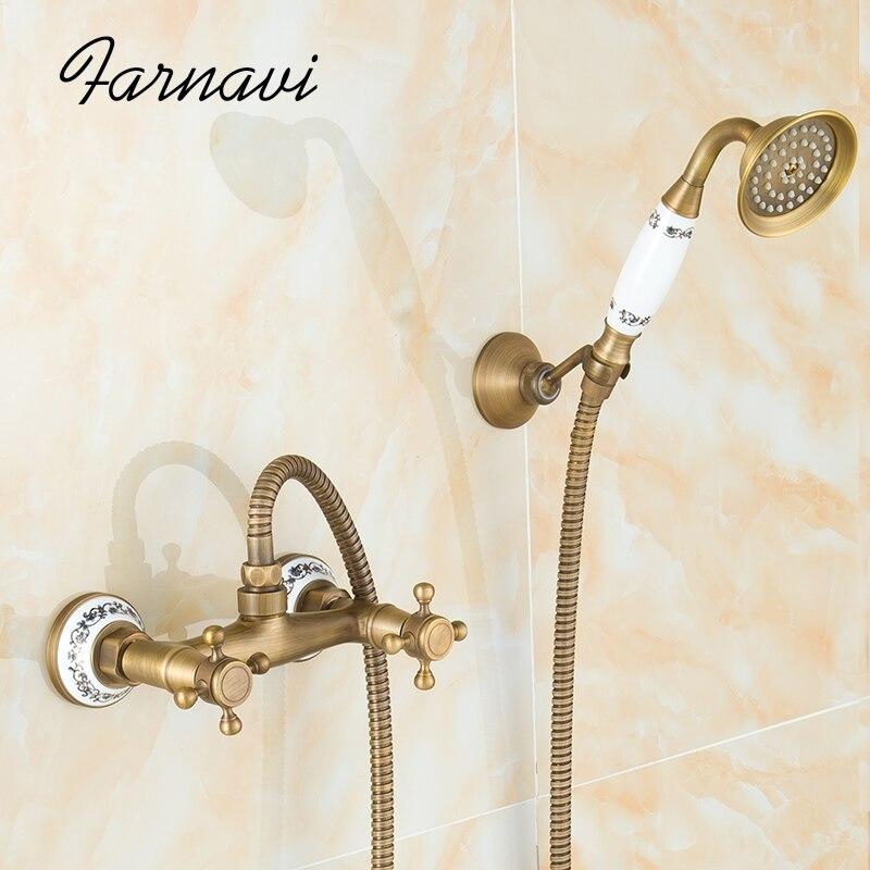 Bathroom Bath Shower Set Rain Shower Wall Mounted Antique Brass Cross Handles Water Mixer Tap Faucet wall mount single handle bath shower faucet with handshower antique brass bathroom shower mixer tap