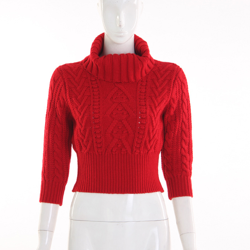 Warm Turtleneck Women Sweaters 2017 Autumn Winter Red Chic Half ...