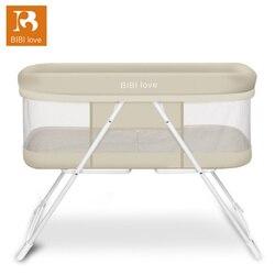 Детская кровать BIBILOVE, складная детская кроватка, удобная кровать для сна, качающаяся кровать, летняя кровать