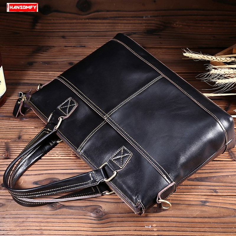 Oil Wax Leather Men's Handbag Cross Section Shoulder Diagonal Business Bag First Layer Leather Male Leather Laptop Briefcase