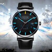 Часы с Тритиевой подсветкой Мода DW стилей для мужчин часы 9015 автоматические механические наручные сапфир Италия кожаный ремень 50 м водонеп