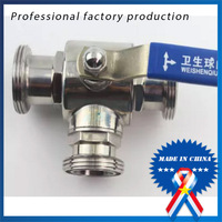 1 Inch Sanitary Female Thread T Way Ball Valve