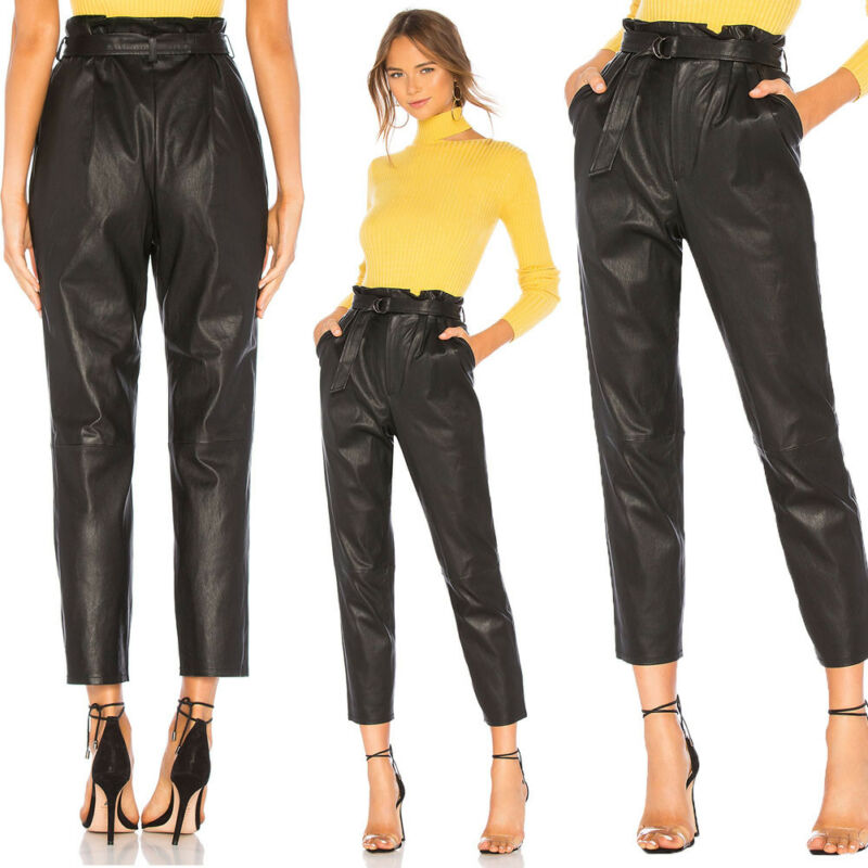 2019 British Style Fashion Casual Women High Waist Paperbag Cigaratte PU Leather Stretch Trousers Ladies Pants
