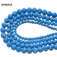 Wholesale Blue Synthesis Turquoises Stone Round Beads For Jewelry Making Charm DIY Bracelet Necklace Material 6/8/10/12 MM