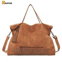 2016 New Arrive Vintage Women Shoulder Bags Nubuck Pu Leather Tassel Handbags Fashion Rivet Women Handbag