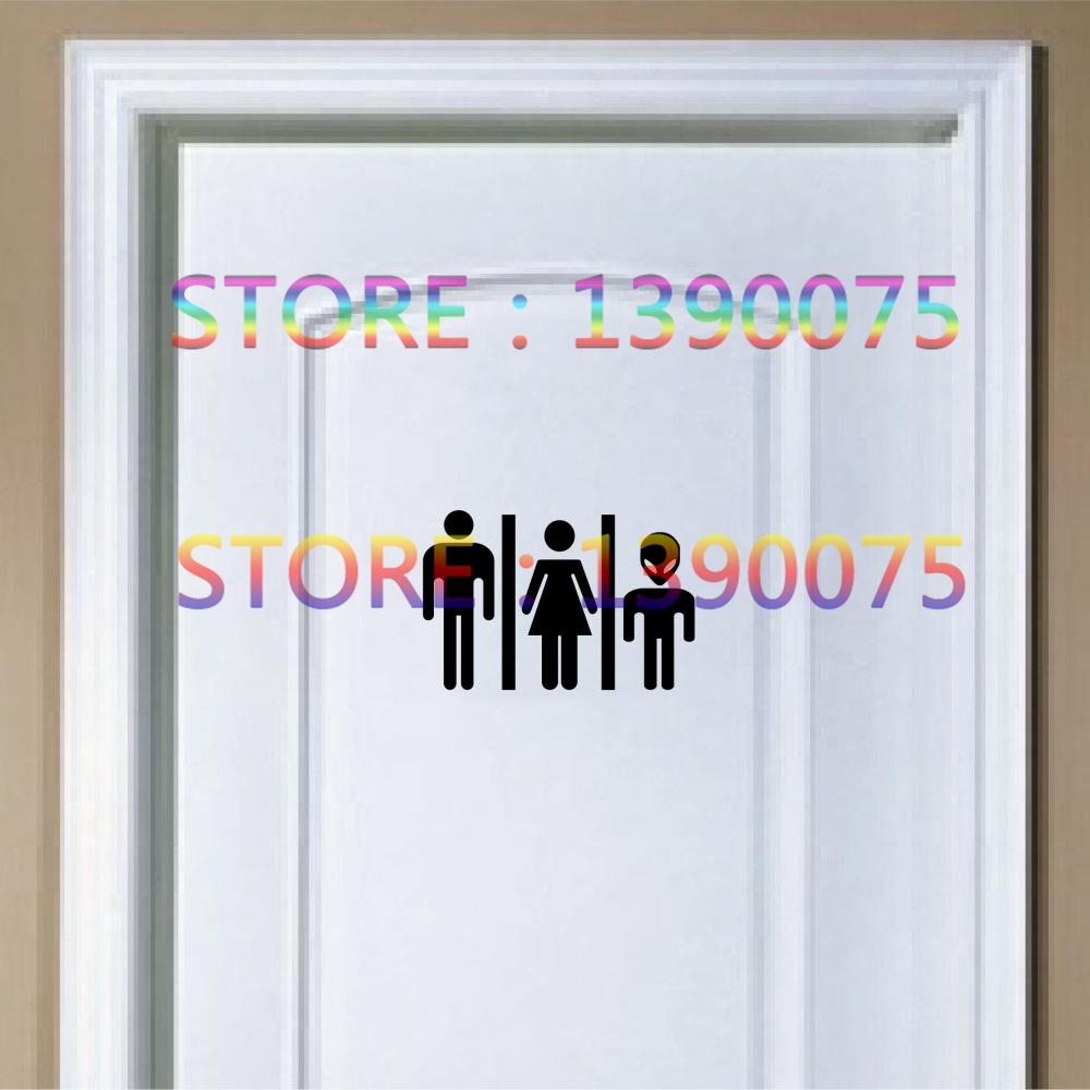 DIY Funny Alien Toilet Sign - Door Sticker, Door Decal Bathroom Door Sign