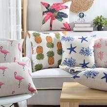 Tropic Tree pineapple  Flamingos Cushion Cover Cotton Linen Throw Pillow case Sofa Bed Decorative Almofadas Cojines