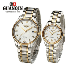 Brand GUNQIN 2pcs/set lovers Couple Watches Men's watches women Quartz watch dress Calendar crystal vintage steel business GL-4