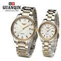 Marca GUNQIN 2 pçs/set amantes casal relógios relógios dos homens relógios mulheres Quartz watch vestido de cristal calendário negócio de aço do vintage GL-4