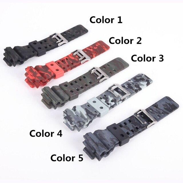 0a202588b064 MERJUST 16mm Camo de caucho silicona banda reloj correa ajuste para Casio G  SHOCK GD GLS 100 110 120 GD110 pulsera