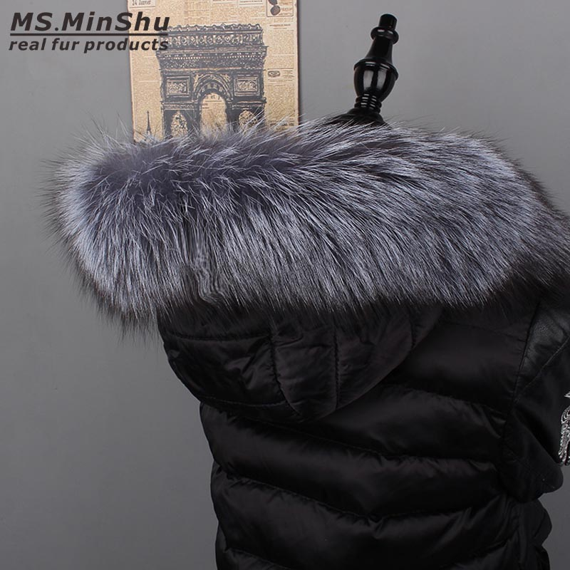 Ms.MinShu Genuine Silver Fox Fur Collar Hoodie Fur Trimming Natural Fox Fur Hood Trim Scarf Big Fur Collar Custom Made