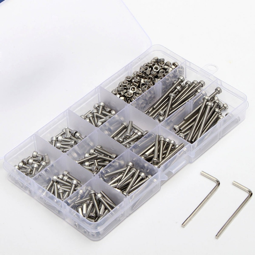 New 442pcs M3 (3mm) A2 Stainless Steel DIN912 Allen Bolts Hex Socket Head Cap Screws Allen Wrench With Nuts Assortment 440pcs m3 m4 m5 a2 stainless steel din912 allen bolts hex socket head cap screws with nuts assortment kit no 1110