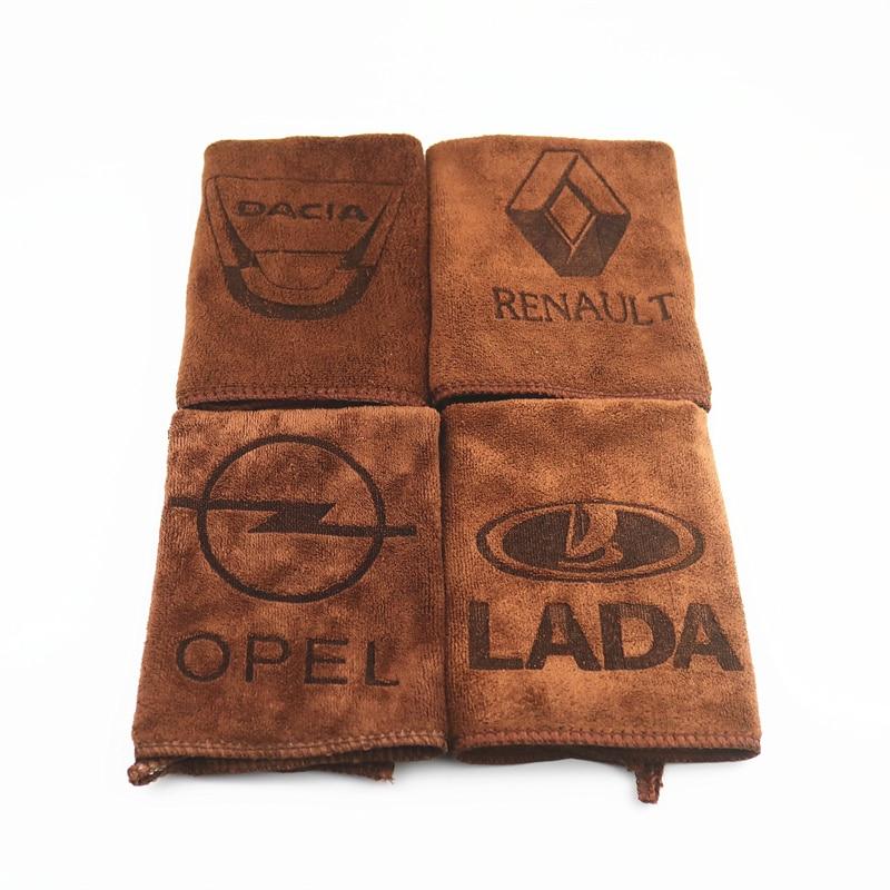 30*30CM Car Sticker Logo Emblem Badge Wash Microfiber Towel Car Cleaning For Lada Renault Opel Dacia Saab Ssangyong Car Styling