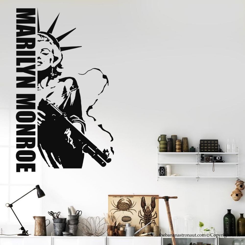 Online Shop Free Shipping Marilyn Monroe Gun Wall Decal Liberty Of Statue  Modern Home Wall Sticker Decal Vinyl Decals GW 42 | Aliexpress Mobile