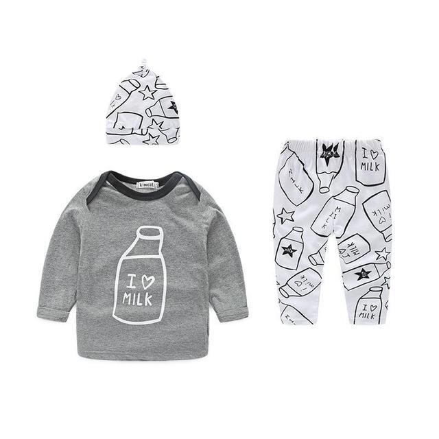 Хлопок Новорожденных Детская Одежда Установить Случайный Девочка Одежда Бутылка Шаблон Весна Осень Мальчиков Одежда Для Новорожденных Костюм