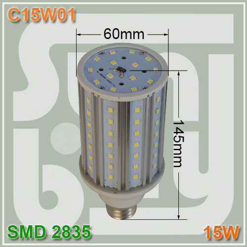 Free shipping LED bulb corn lamp 15W E27 aluminum high quality high lumens 360 degree SMD2835 15w corn light