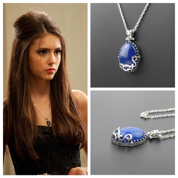 925 Sterling Silver The Vampire Diaries Katherine Pierce Daylight Necklace Nature Lapis With Retro Box