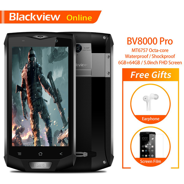Blackview BV8000 Pro 5.0 inch IP68 Waterproof Rugged Mobile Phone 6G+64G Octa Core FHD+IPS Screen Android 8.0 NFC GPS Smartphone