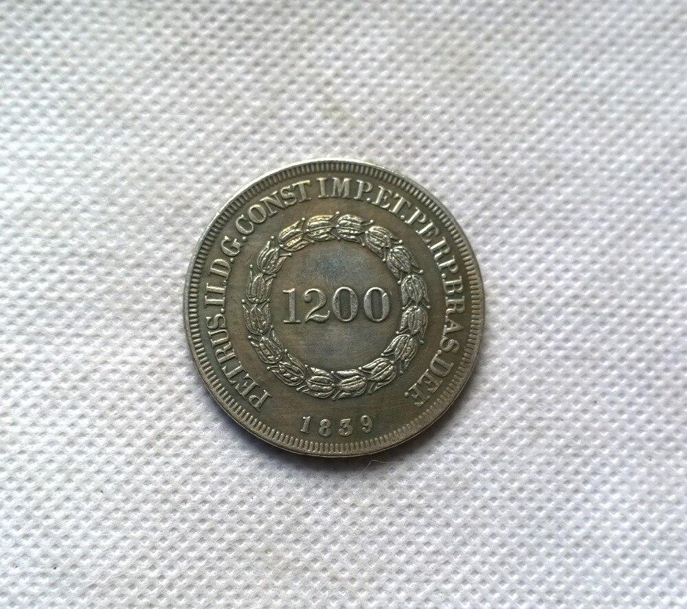 1839 Бразилия 1200 Reis МОНЕТА КОПИЯ БЕСПЛАТНАЯ ДОСТАВКА