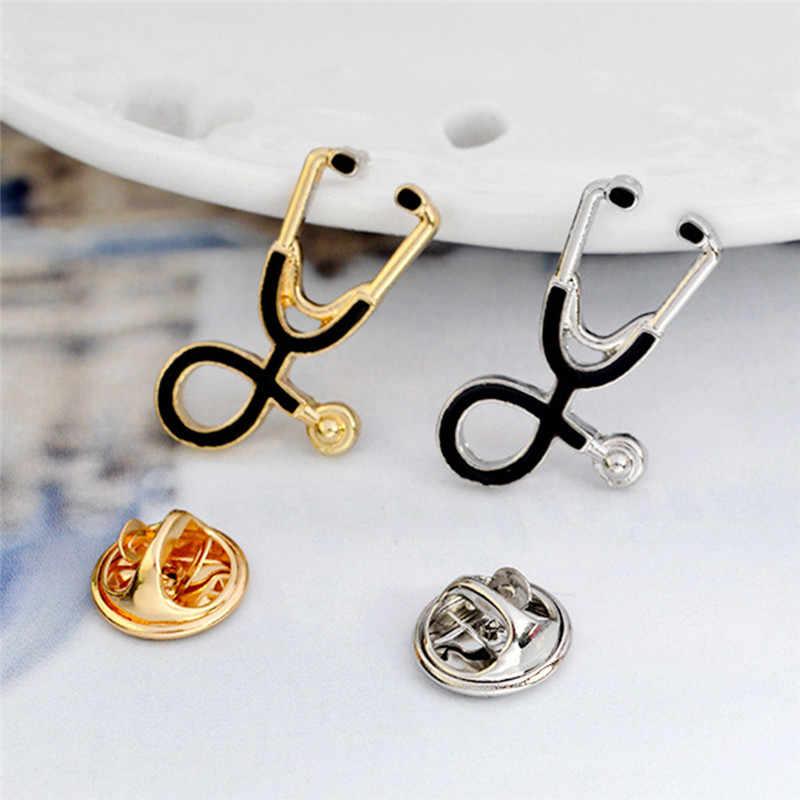 JETTINGBUY Minuscole perline di Metallo Stetoscopio Gioielli Pin Spilla Per Doctors Studente Infermiere Badge Medico Cappotto Giacca Colletto Della Camicia Spilla