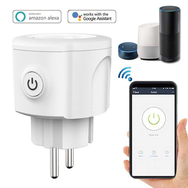 Inteligentne gniazdo WiFi wtyczką inteligentny pilot zdalnego sterowania funkcja sterowania głosem ue wtyczka typu E dla Amazon Alexa Google domu