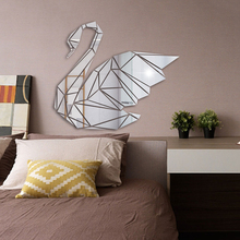 3D Mirror Wall Stickers Geometric Swan Acrylic Sticker For Bedroom Living Room Background Home Decor