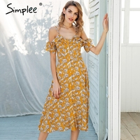 Simplee Strap Cold Shoulder Midi Summer Dress Women Ruffle High Waist Boho Dress Button Floral Print