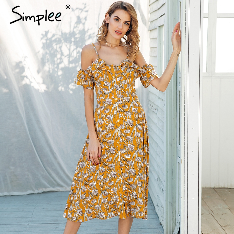 d17e8b13d1 Simplee Strap cold shoulder midi summer dress women Ruffle high waist boho  dress Button floral print vestidos dress female-in Dresses from Women s  Clothing ...