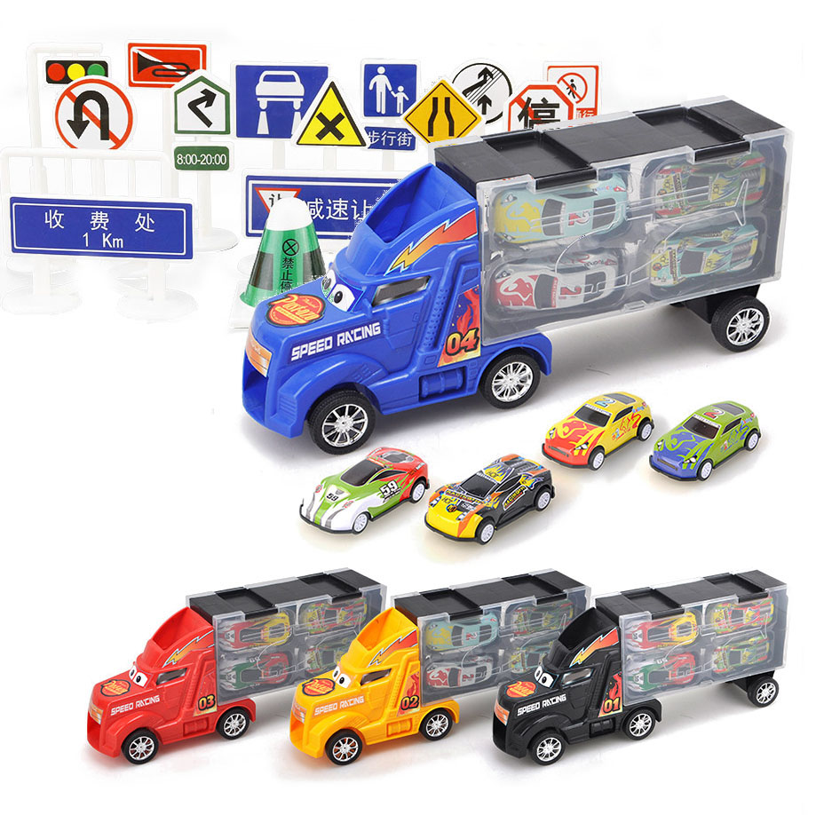 33Pcs (28Pc Road Sign + 4Pc Car +1Pc Big Truck) Diecast Model Car for Children Christmas Gifts Cars Toys Vehicles