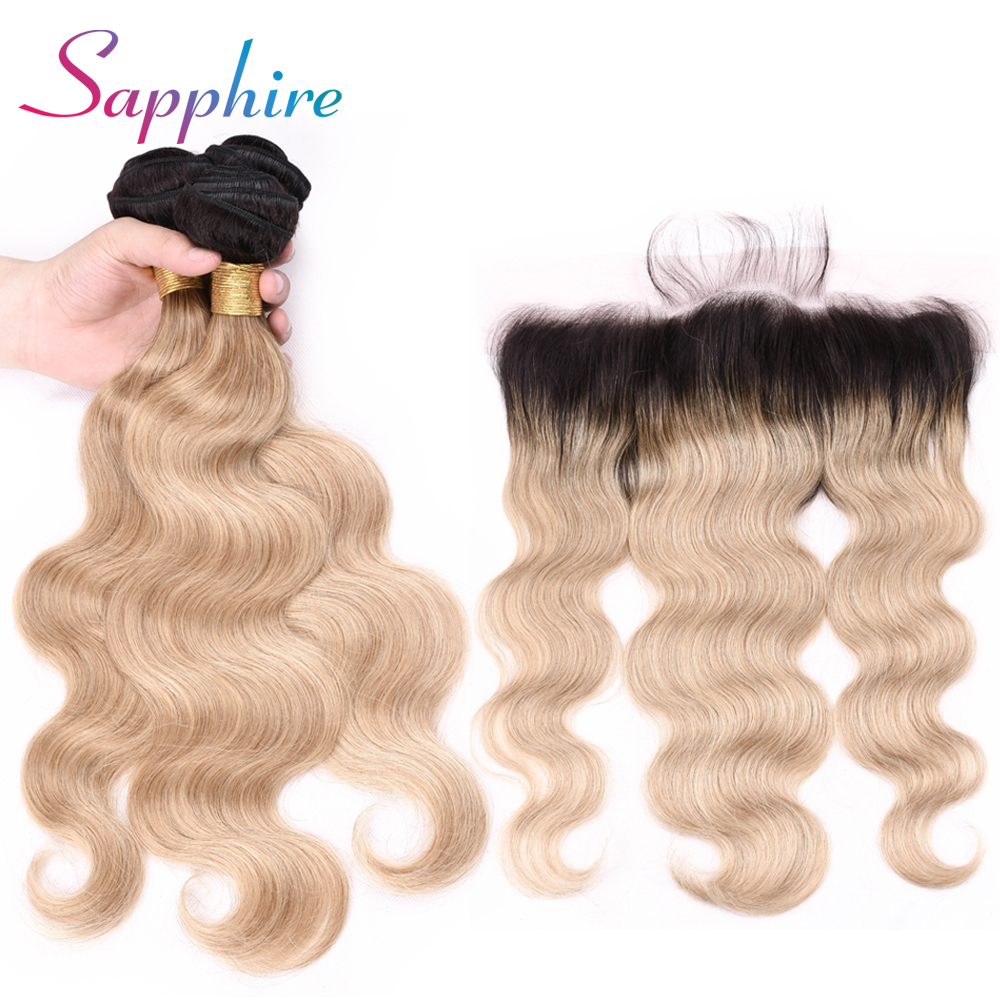 Sapphire Hair TB/27 Dark Roots Ombre Blonde Brazilian Body Wave Bundles with Frontal Free Part Remy Human Hair Bundles