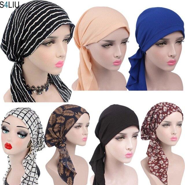 ผู้หญิงยืดBonnetมุสลิมTurbanหมวกBeanie Skullies Headscarf Wrap Chemo Ladyผ้าพันคอหมวกอิสลามหมวกสูญเสียผม