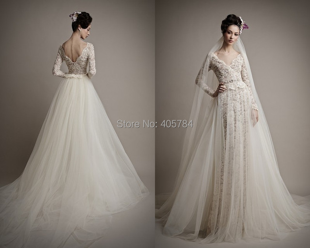 V Neck Long Illusion Sleeves Lace Wedding Dresses With Removable