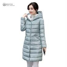 2017 Европейский Осень плюс Размеры женские зимние пальто Высокое качество Однотонная одежда Теплый Тонкий ватник с капюшоном тонкие длинные хлопковая куртка OK959